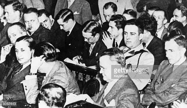 Charles Augustus Lindbergh the aviator, attends the court case in which Bruno Richard Hauptmann is accused and found guilty of kidnapping and...