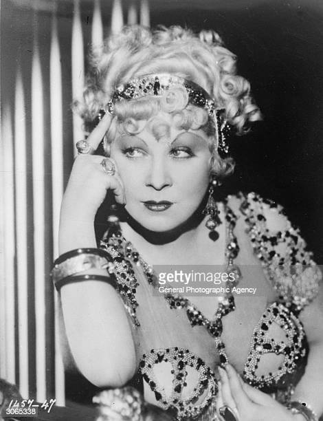 Mae West as she appears in a highly successful Paramount film, 'I'm No Angel' with Cary Grant.