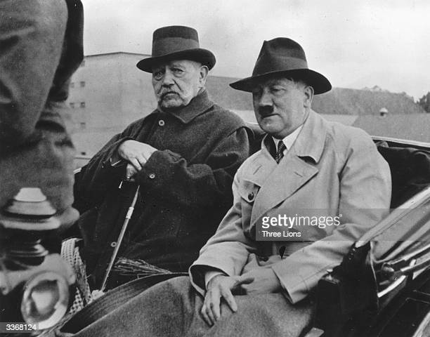 Two leaders of the German Reich Field Marshal Paul von Hindenburg late President of the German Reich and Adolf Hitler German political and government...