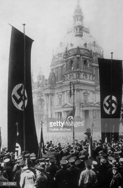 A Work Front parade in front of the Reichstag which was held in response to the publication of the Nazi government's law concerning employees