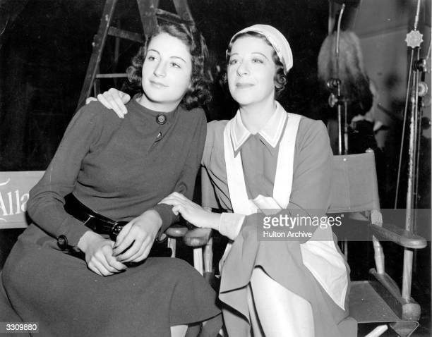 American Fanny Brice the Hollywood actress and musical star with her daughter Frances on the 'Everybody Sing' set at MGM