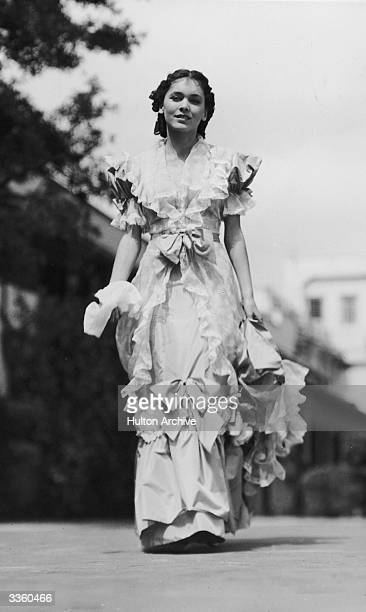 Irish actress Maureen O'Sullivan in costume for a scene in the MGM film 'Anna Karenina' adapted from Leo Tolstoy's novel The film was directed by...