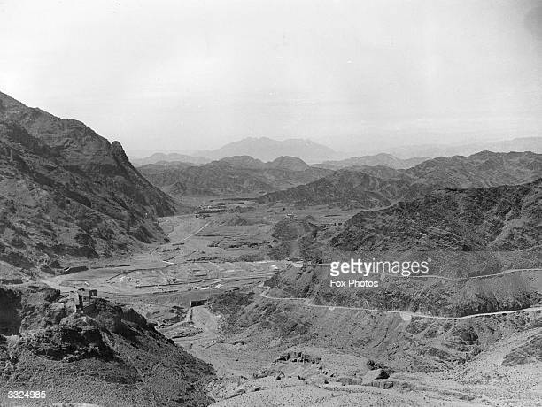 The Khyber Pass through the mountains of the Safed Koh range on the north-west frontier of India and Afghanistan. Afghanistan is in the background.