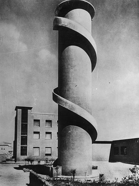 A concrete look-out tower with spiral external stairway,...