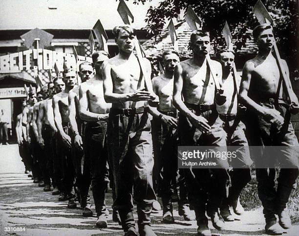 A group of German workers marching