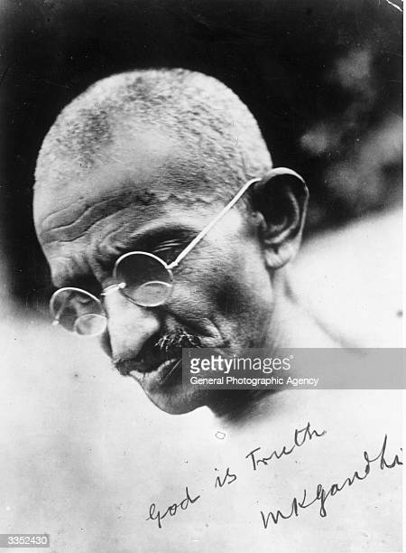 A signed portrait of Mahatma Gandhi leader of the Indian National Congress He campaigned for tolerance and social reform and an end to discrimination...