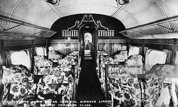 A view of the forward passenger cabin of an Imperial Airways Handley Page HP42E Heracles airliner as normally used on the Paris to London route total...