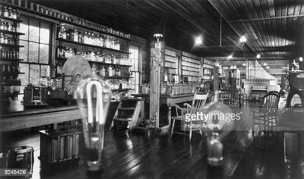A view of the upstairs of Thomas Edison's Menlo Park lab after its relocation to the Henry Ford Museum in Greenfield Village with gas and electric...
