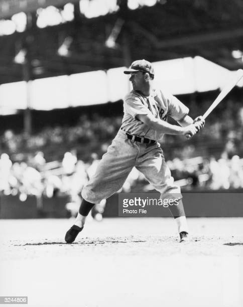 American baseball player Mel Ott outfielder third baseman and slugger for the New York Giants about to swing while at the plate during an at bat in a...