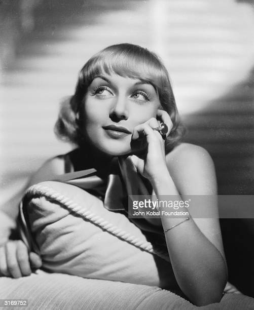 American film actress Carole Lombard with a whimsical expression on her face