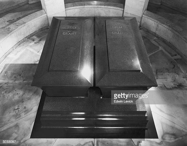 An interior view of the tomb of former US president General Ulysses Simpson Grant showing his and his wife's coffins sitting in a circular room with...