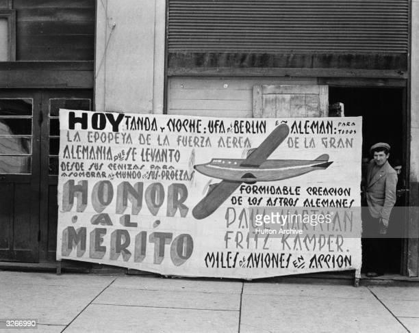 Cinema advertisement for a German propaganda film shown at Puerto Varas Chile