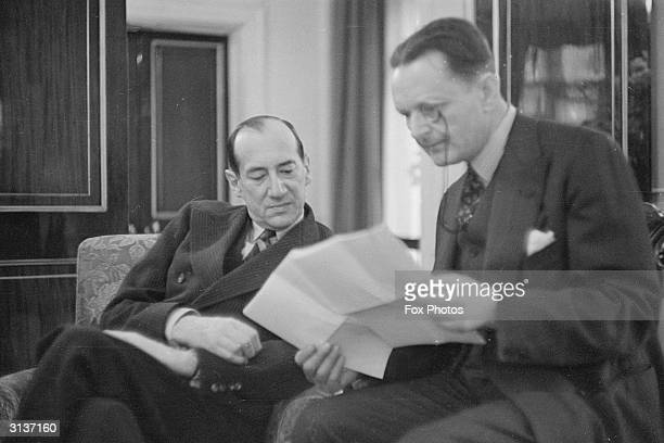Colonel Jozef Beck who became Polish minister of foreign affairs in 1932 discussing plans with Polish ambassador Count Edward Raczynski