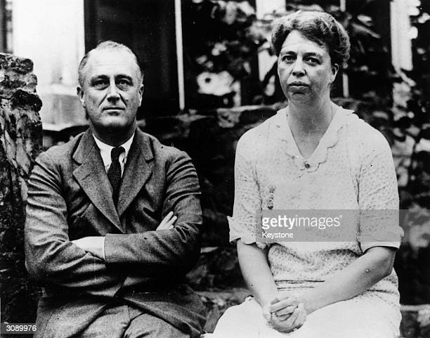 Democratic politician and the 32nd President of the United States Franklin Delano Roosevelt with his wife the noted humanitarian activist Eleanor...