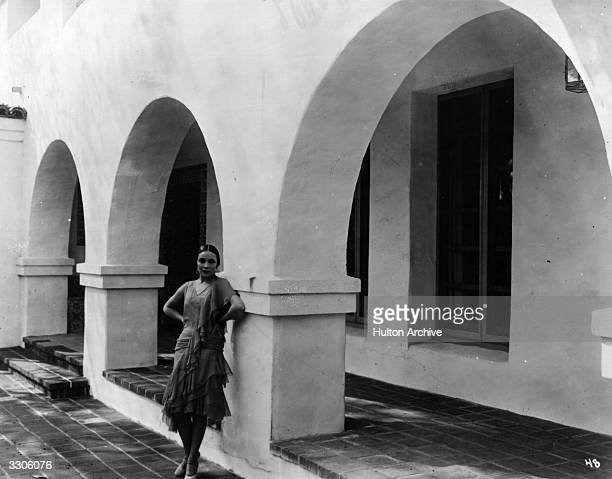 Dolores Del Rio Hollywood film star and wife of MGM's Art Director Cedric Gibbons. Viewed outside her home in Hollywood.