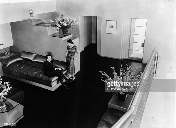 Dolores Del Rio Hollywood film star and wife of MGM's Art Director Cedric Gibbons . An interior view of their house.
