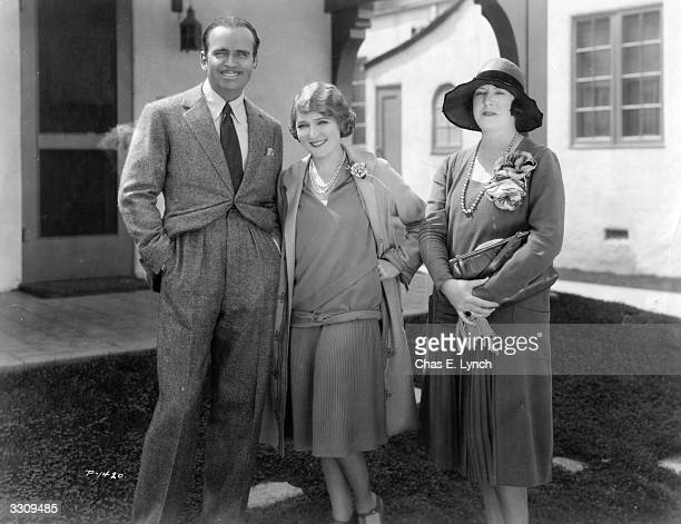 Douglas Fairbanks Senior with his wife Mary Pickford and photographic agent Margaret Chute.