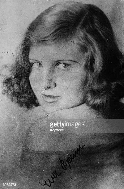 Eva Braun , Adolf Hitler's mistress whom he married the day before their suicide in Berlin. Hitler always carried this signed picture in his wallet,...