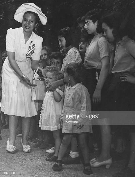 Evita Peron wife of former Argentinian president and dictator Juan Peron visiting a school in Sevres Paris