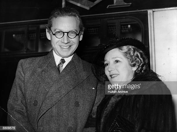 Film producer and mogul Alexander Korda with actress Mary Pickford In Hollywood he was director of United Artist Corporations of America and Paris...