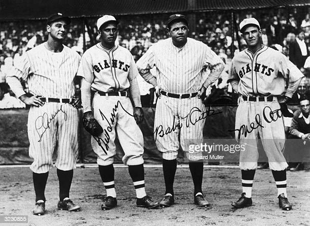 Fulllength group portrait of American baseball players Lou Gehrig of the NY Yankees Bill Terry of the NY Giants Babe Ruth of the NY Yankees and Mel...