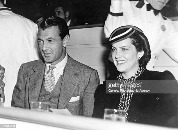Gary Cooper , the Hollywood actor with his wife 'Rocky' actor Sandra Shaw .