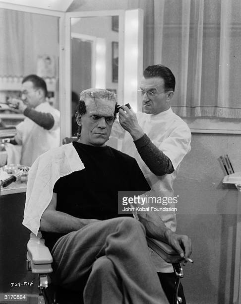 Greeceborn makeup artist Jack P Pierce works to transform Boris Karloff into the monster for 'Bride of Frankenstein' directed by James Whale