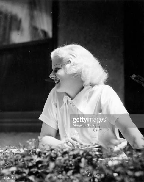 Jean Harlow the screen name of Harlean Carpentier the American platinum blonde leading lady outside MGM studio's restaurant