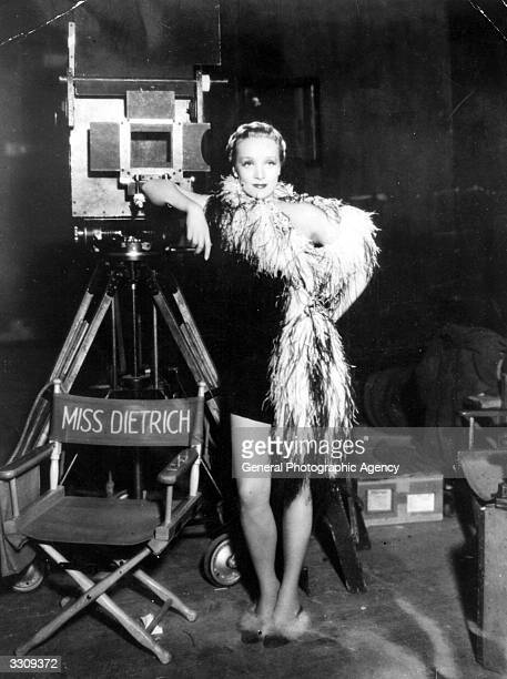 Marlene Dietrich the legendary German singer and actress on set.
