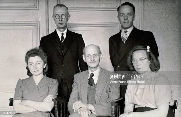 Portrait of Anne Frank's father Otto Frank surrounded by his office workers c 1935 Top row Johannes Kleiman Victor Kugler Bottom row Miep Gies Otto...