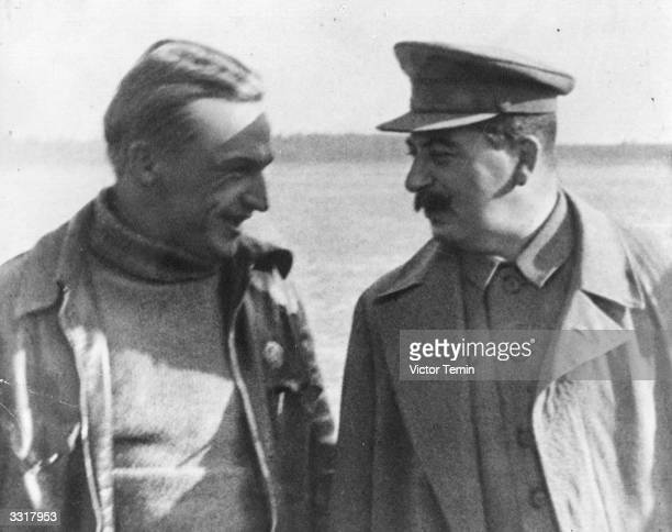 Soviet leader Joseph Stalin with pilot Valeri Chkalov at Schelkovo airfield after Chkalov flew from Moscow to the Isle of Udd