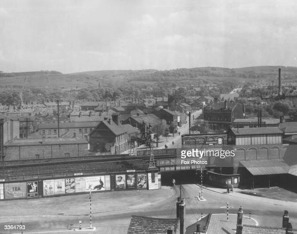 The railway station and Buxton Road at Macclesfield Cheshire