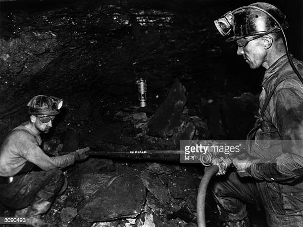 Two miners at work in an anthracite mine near Scranton Pennsylvania
