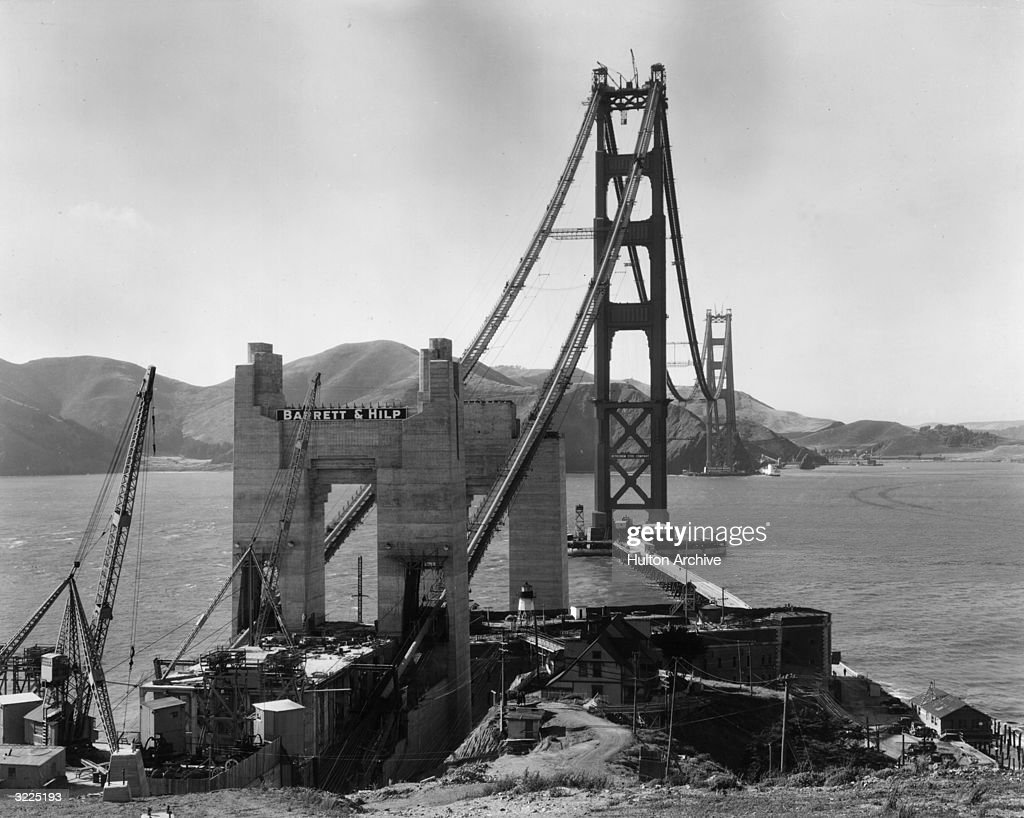 View of Golden Gate Tower under construction from San Francisco looking towards the mountains of Marin County, California.
