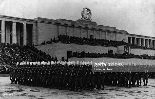 Workers Battalions marching at a mass Nazi Party rally in Nuremberg