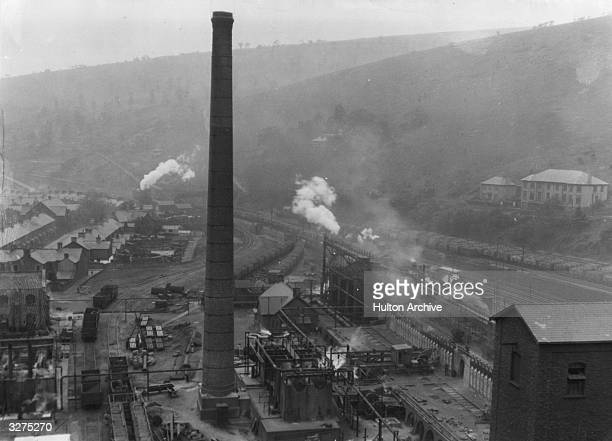 Chimney and the coke ovens at Llanbradach, Wales.