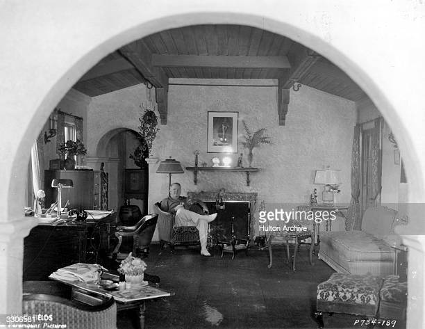 American comic actor W C Fields formerly William Claude Dukenfield in the living room of his Bel Air home