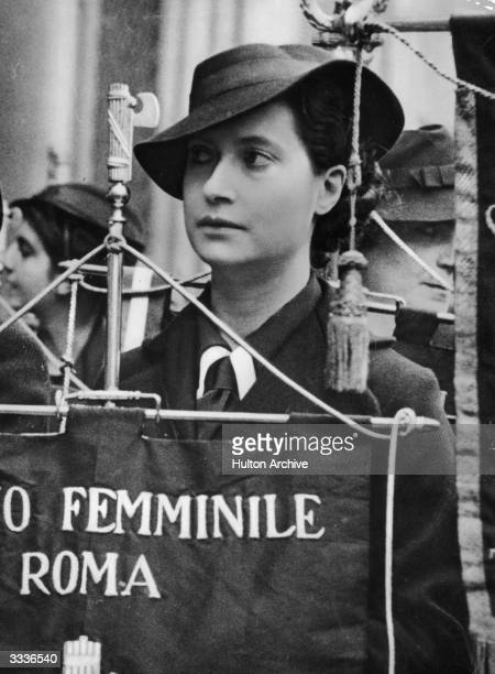 An Italian woman on a Fascist march in Rome Italy