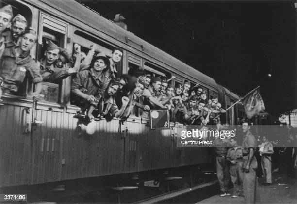 Government troops leave Barcelona during the Spanish Civil War by train