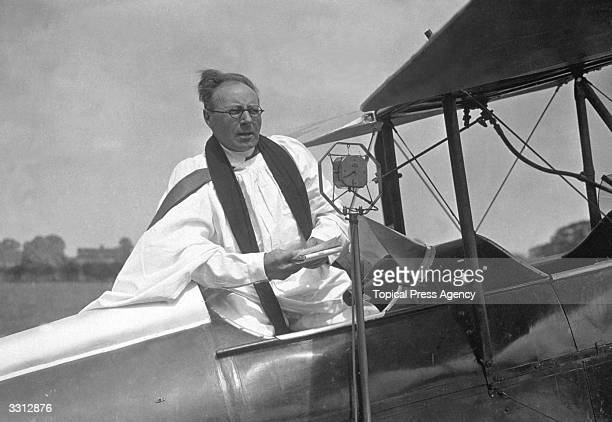 The Rev C Boulton the flying curate preaching from the cockpit of his aeroplane before leaving on his mission to conduct open air services all over...