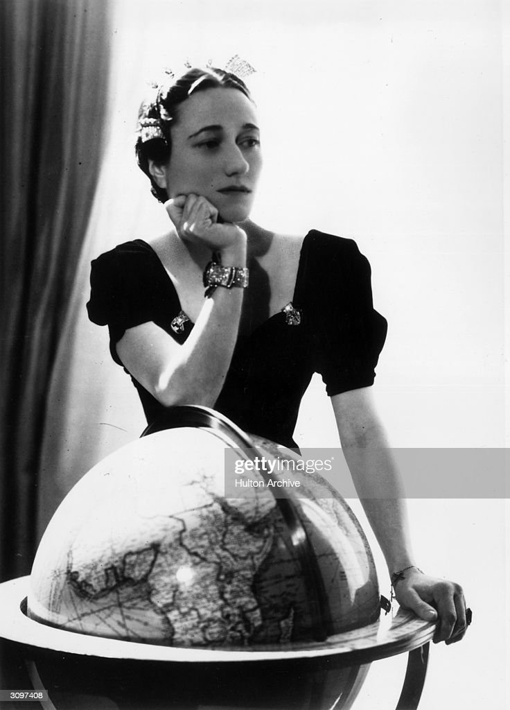 Wallis Simpson, the Duchess of Windsor (1896 - 1986), wearing her Cartier emerald engagement ring and a sapphire and diamond bracelet.