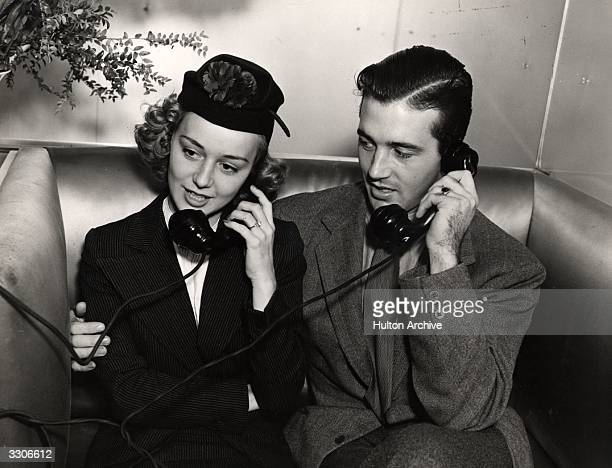 Anne Shirley the Hollywood actress joins John Payne her husband and fellow thespian in a phone call