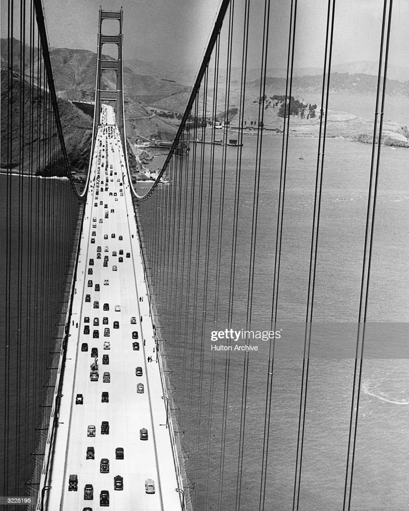High-angle view of traffic and pedestrians using the Golden Gate Bridge, San Francisco, California.