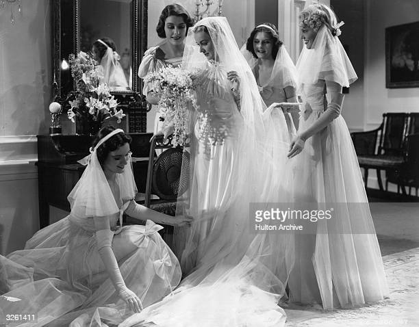 Laurel with the help of Helen prepares for the most thrilling moment of her life - her marriage - in a scene from the remake of the film 'Stella...