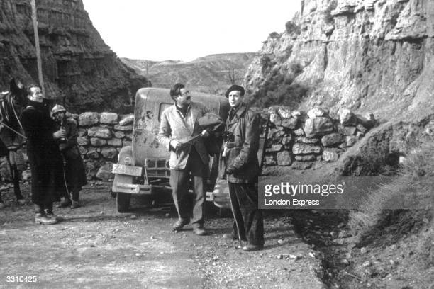 Novelist and journalist Ernest Hemingway , at the Belchite sector, during the Spanish Civil War. He was one of the first American correspondents to...