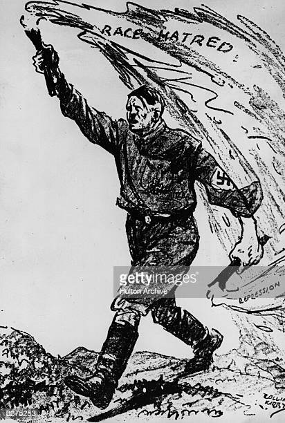 A giant Adolf Hitler bestrides the German countryside carrying the twin beacons of Race Hatred and Repression