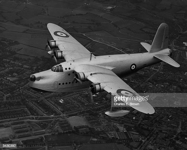 A Short 'Sunderland' a flying boat bomber which is being built for the RAF The plane evolved from the Empire Flying Boats and has a long range...
