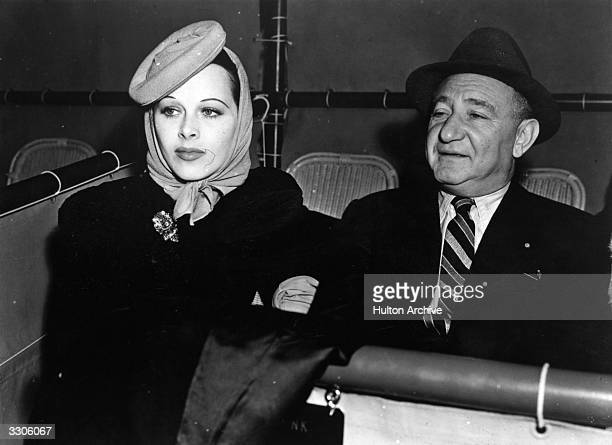 Austrianborn American actress Hedy Lamarr with Russianborn film executive Joseph Shenck at the Santa Anita Race Track in California