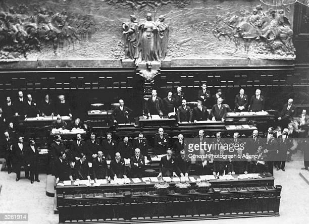 Benito Mussolini in the new session of Parliament.