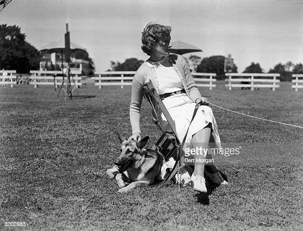 EXCLUSIVE Doris Kales of Darien Connecticut sitting on a chair on a lawn and petting her German shepherd 'Nike of Cosalta' at the Ox Ridge Dog Show...